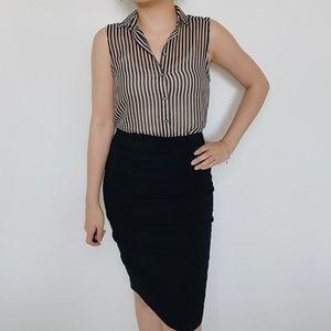 Beige & Black Stripes Sleeveless Blouse
